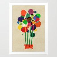 Happy Flowers In The Vas… Art Print