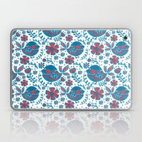 The Flowery Blue Bird Pr… Laptop & iPad Skin