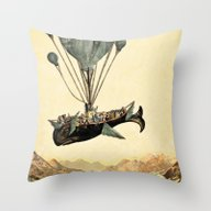 Whale Flight I Throw Pillow