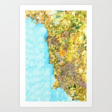 Map of Paphos District Art Print