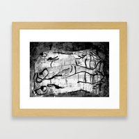 blank & white fishes Framed Art Print