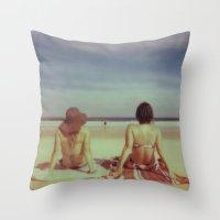 Beach Days, Polaroid Throw Pillow
