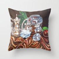 Still Life Study Of Silv… Throw Pillow