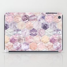 Rose Quartz and Amethyst Stone and Marble Hexagon Tiles iPad Case