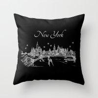 New York, New York City Skyline Throw Pillow
