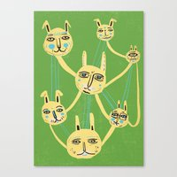 Connected Rabbits Canvas Print