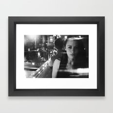 girl in restaurant Framed Art Print