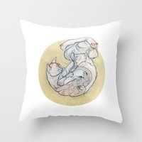 The Lady And The Cat. Throw Pillow