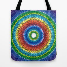 Happy Rainbow Mandala Tote Bag
