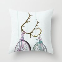 Bicycles In Love Throw Pillow