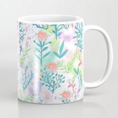Hand drawn coral pink green watercolor floral Mug