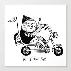 Sloth riding a bike Canvas Print