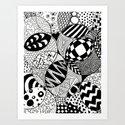 Black and White Insanity Art Print