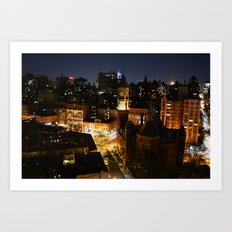 Moon Rising Over East Villiage, NYC Art Print