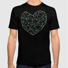 Abstract Heart Mint Mens Fitted Tee Black SMALL