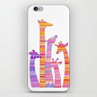 Giraffe Silhouettes in Colorful Tribal Print iPhone & iPod Skin