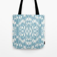 Ikat: Light Blue Ivory Tote Bag