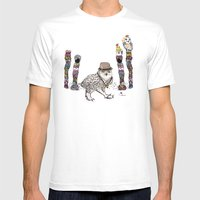 Owl in the City of Hearts Mens Fitted Tee White SMALL