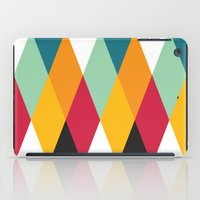 Yellow Orange Red Blue Black Diamond Pattern  iPad Case