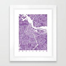 Amsterdam Map Lilac Framed Art Print