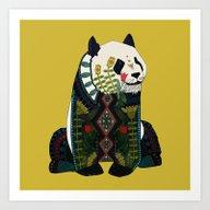 Art Print featuring Panda Ochre by Sharon Turner