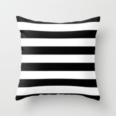 Stripe Black & White Hor… Throw Pillow