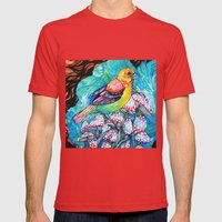 birds and mushrooms Mens Fitted Tee Red SMALL