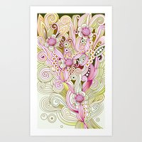 Flower fire | yellow, purple, green and ocre Art Print