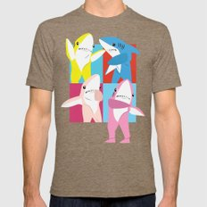Left Shark Pop Art Mens Fitted Tee Tri-Coffee SMALL