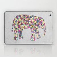 Elephant Collage in Gray Hot Pink Teal and Yellow Laptop & iPad Skin