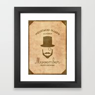 Framed Art Print featuring Moustache Season by Beardy Graphics