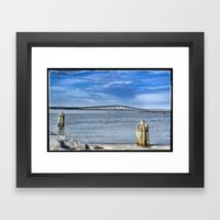 Bridge to sand and sea Framed Art Print