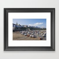 Boats In Tenby Harbour A… Framed Art Print