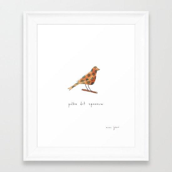 polka dot sparrow Framed Art Print
