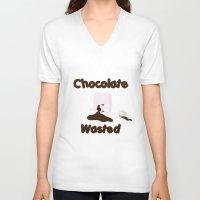 Chocolate Wasted (blue) Unisex V-Neck