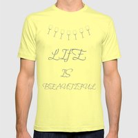 Life Is Beautiful (Gray) Mens Fitted Tee Lemon SMALL