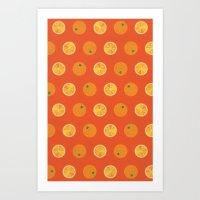 Cute Oranges Picture Pat… Art Print