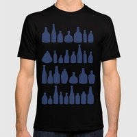 Bottles Navy Mens Fitted Tee Black SMALL