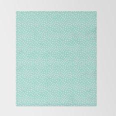 Preppy mint  dots polka dots abstract minimal white brushstroke dot pattern print painting  Throw Blanket