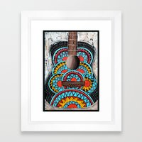 Retro Guitar Framed Art Print