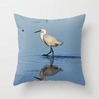 Egret Walk Throw Pillow