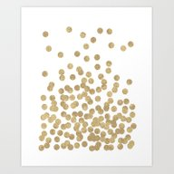 Art Print featuring Gold Glitter Dots In Sca… by CharlotteWinter