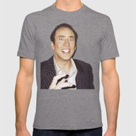 Nicolas Cage Mens Fitted Tee Tri-Grey SMALL