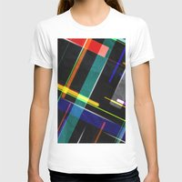 Line Pattern Womens Fitted Tee White SMALL