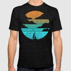 Go West (sail away in my boat) Mens Fitted Tee Tri-Black LARGE