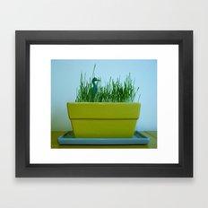 Duck in Wheat grass Framed Art Print