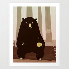 Bear Enjoys Coffee Art Print