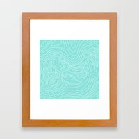 Ocean depth map - turquoise Framed Art Print