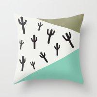 Cactus – Mint, Black A… Throw Pillow