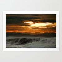 Winter Shorebreak At Sun… Art Print